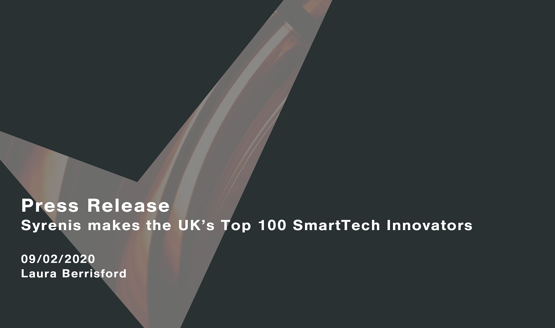 Syrenis makes the UK's top 100 SmartTech Innovators Cassie personal information & consent management