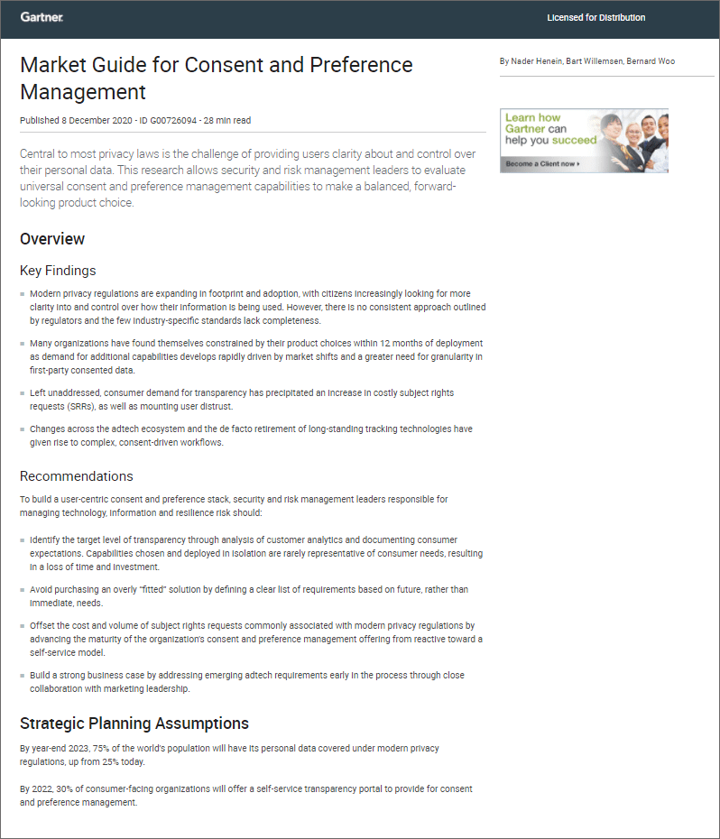 Report: Consent and Preference Management by Gartner Cassie personal information & consent management